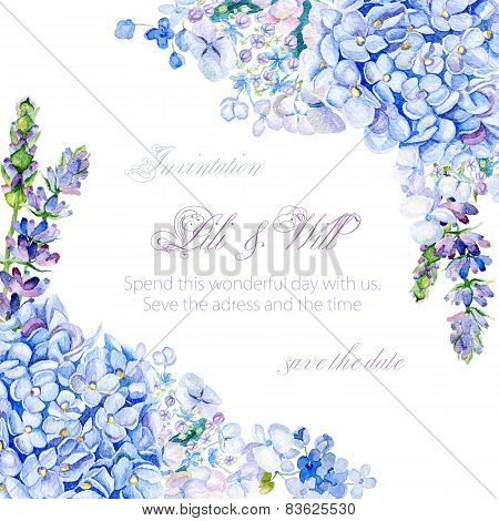 Frame of watercolor blue hydrangea, lavender.
