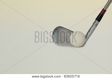 Vintage golf driver and ball