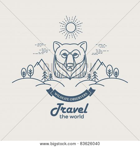Wild animals. Flat line illustration
