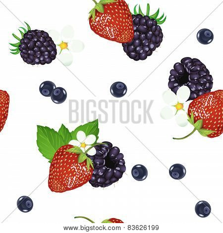 Seamless pattern of realistic image of delicious ripe berries. Vector strawberries. Blueberries. Bla