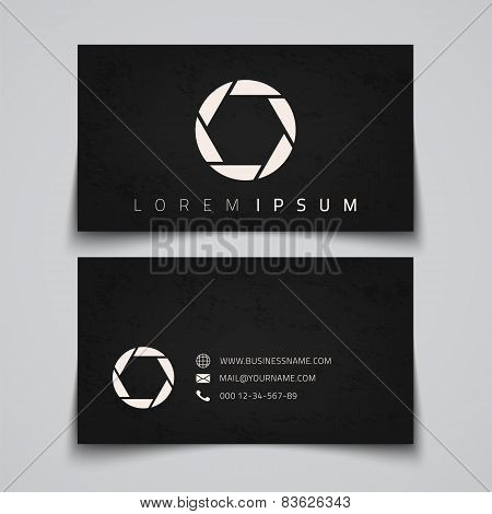Business card template. Camera shutter concept logo.
