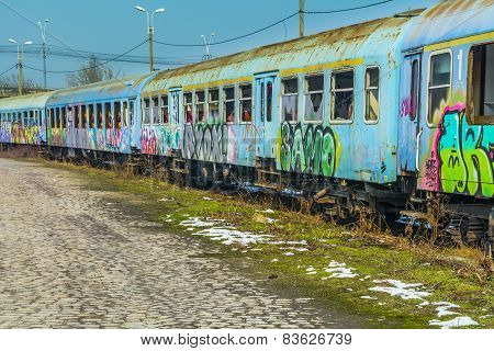 Bucharest, Romania - February 14 : Abandoned Train Wagons Vandalized Near Grand Bridge.