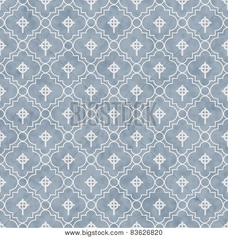 Pale Blue And White Celtic Cross Symbol Tile Pattern Repeat Background