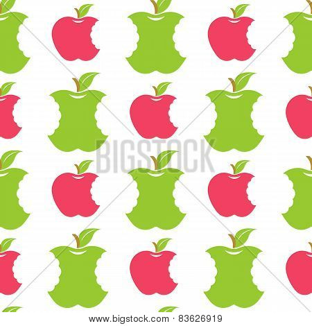 Seamless Pattern With Green And Red Apples