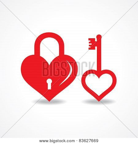 Vector Illustration of love lock and key design