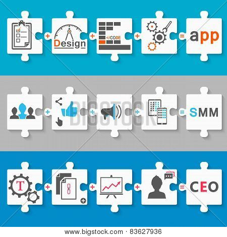 Set Schemes Infographic App, Seo, Smm