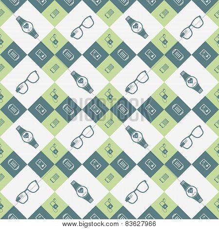 Vector Seamless Pattern Of Smart Devices