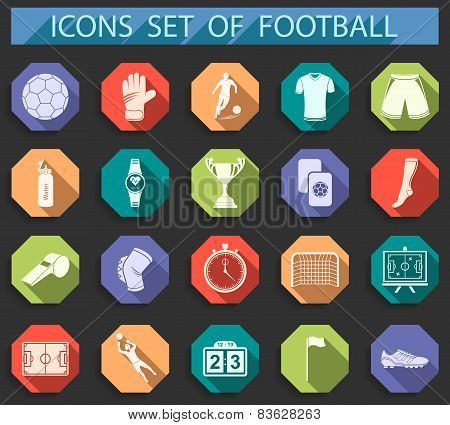 Set Of Vector Icons Of Football In Flat Style