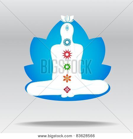 Silhouette Of Meditating Person In Lotus