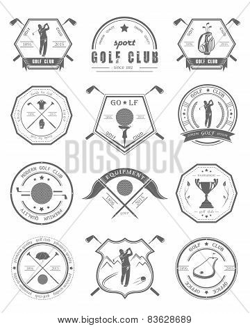 Vector Set Of Badges of Golf Clubs