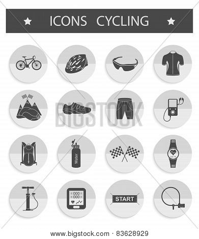 Vector Set Of Icons Cycling
