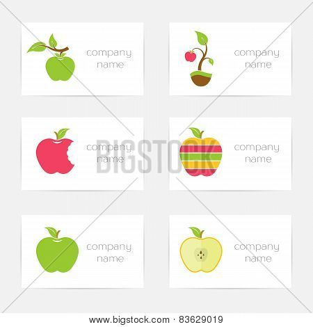 Vector Set Of Badges Of Apples