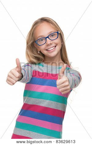 Preteen Girl In A Glasses With Her Thumbs Up