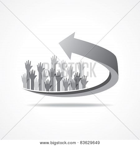 Vector Illustration of raised hand on business arrow