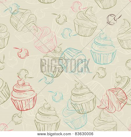 Seamless pattern with sweet cupcakes and berries in vintage style.