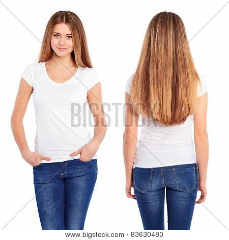 White Tshirt On A Young Woman Template