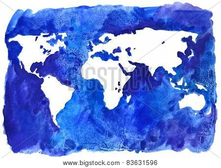Watercolor world map illustration