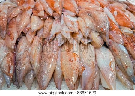 Fresh squid for sale at a market