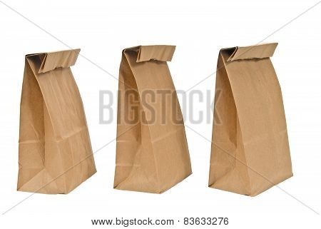 Folded Paper Bags In A Row