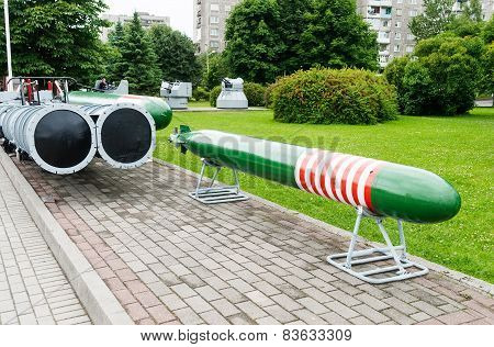 Old torpedo and torpedo tubes in Kaliningrad