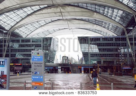 Munich International Airport on winter day