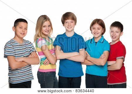 Happy Children Against The White