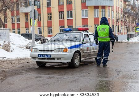 Russian Patrol Vehicle Of The State Automobile Inspectorate In Winter Day