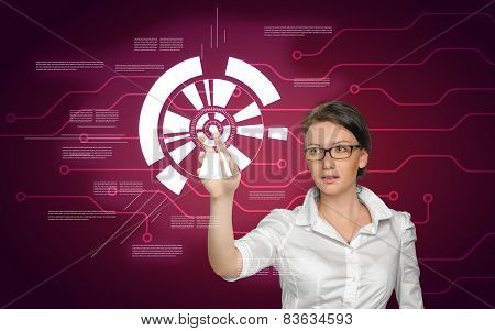 Girl working with digital screen