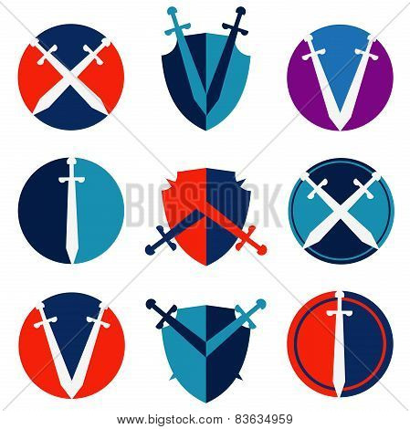 sword and shield on a white background. collection of icons