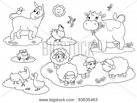 Coloring farm animals vector