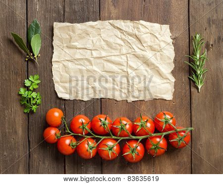 Cherry Tomatoes, Herbs And Craft Paper