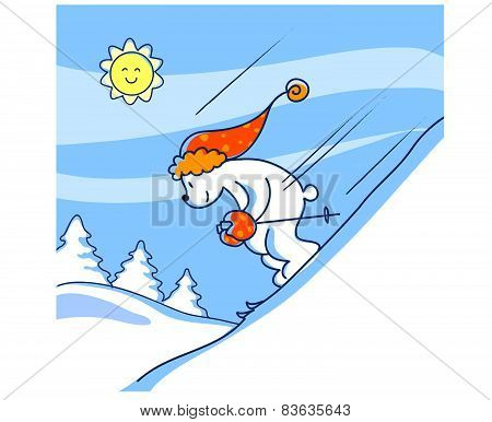 Skiing bear vector