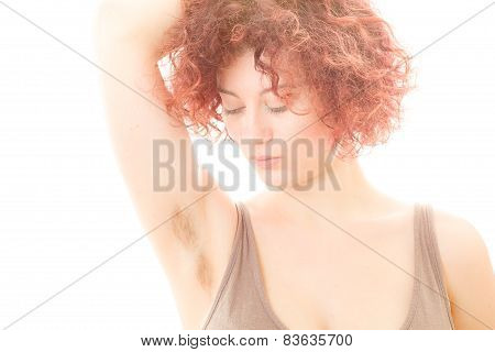 Woman with Hairy Armpit