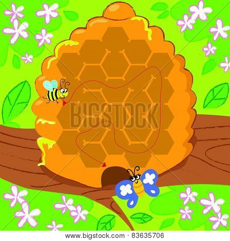 Vector maze with bee and butterfly