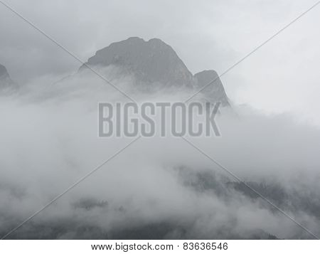 Panoramic View Of Mountains In The Fog