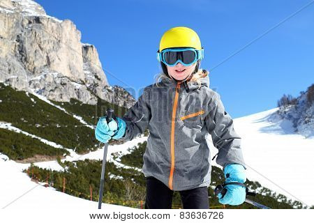 Smiling Young Girl At Winter Sport