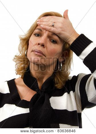 Woman Is Feeling Sick Over White Background