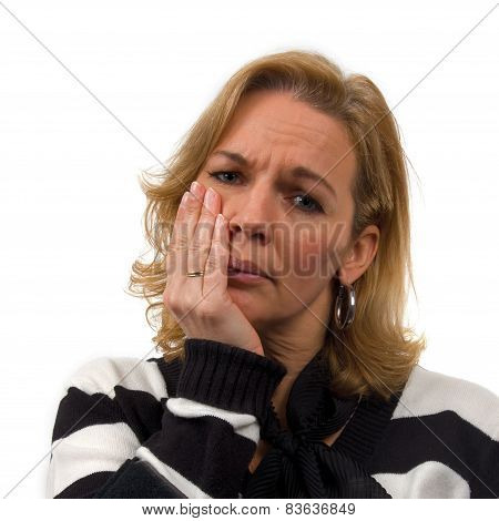 Woman Is Heaving Toothache Over White Background