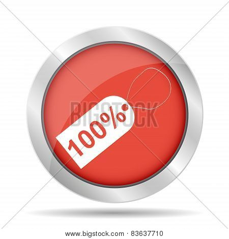 100% Tag Icon, Vector Illustration. Flat Design Style