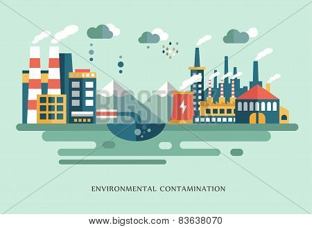 Pollution, urban landscape, the plant with pipes, flat style