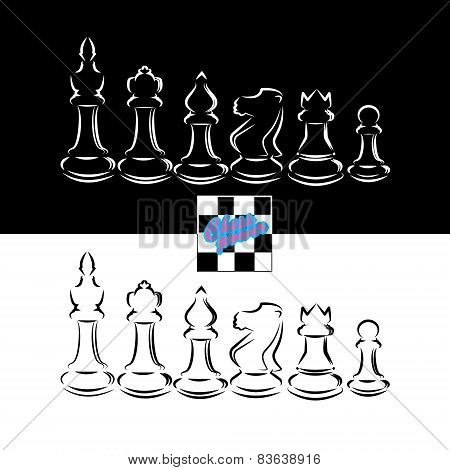 Black and white chessmen chess design