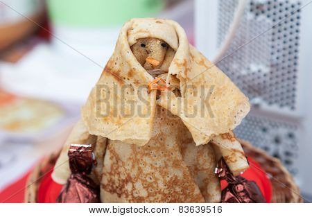 Shrovetide Effigy Made Of Pancakes Close Up