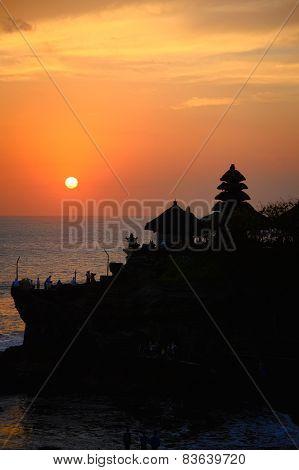 Hindu Temple Tanah Lot In Bali At Sunset