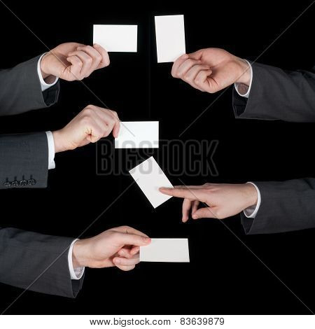 Hands hold business cards collage on black
