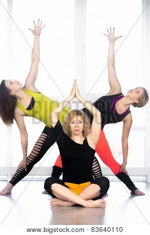 Group Of Yogi Females Practicing Yoga In Class