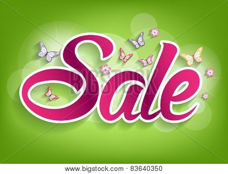Spring Sale Word with Butterflies and flowers