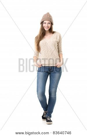 Beautiful Teenage Girl Posing In Casual Clothes