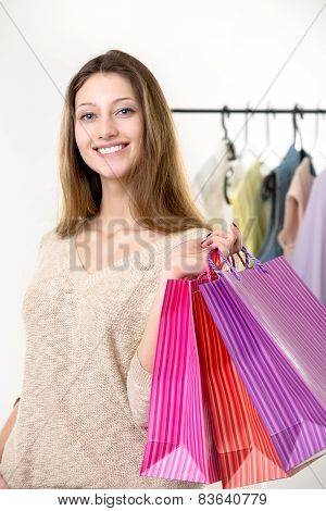 Teenage Girl Out For Shopping With Colorful Paper Bags