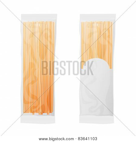 Italian spaghetti transparent bag package