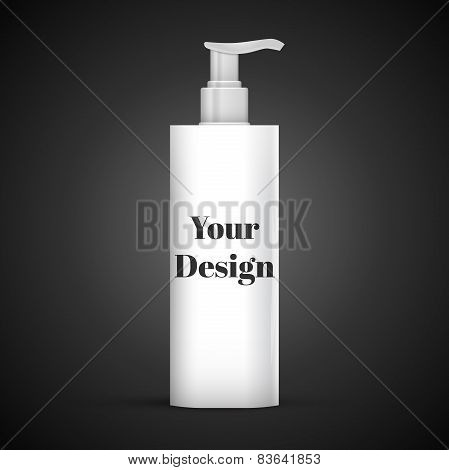 Plastic Clean White Bottle With Dispenser Pump. Shower Gel, Liquid Soap, Lotion, Cream, Shampoo, Bat